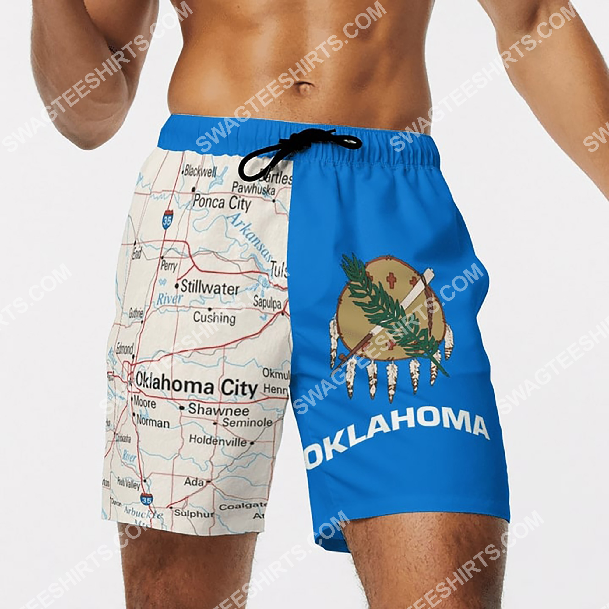 map of oklahoma all over printed beach shorts 4(1)