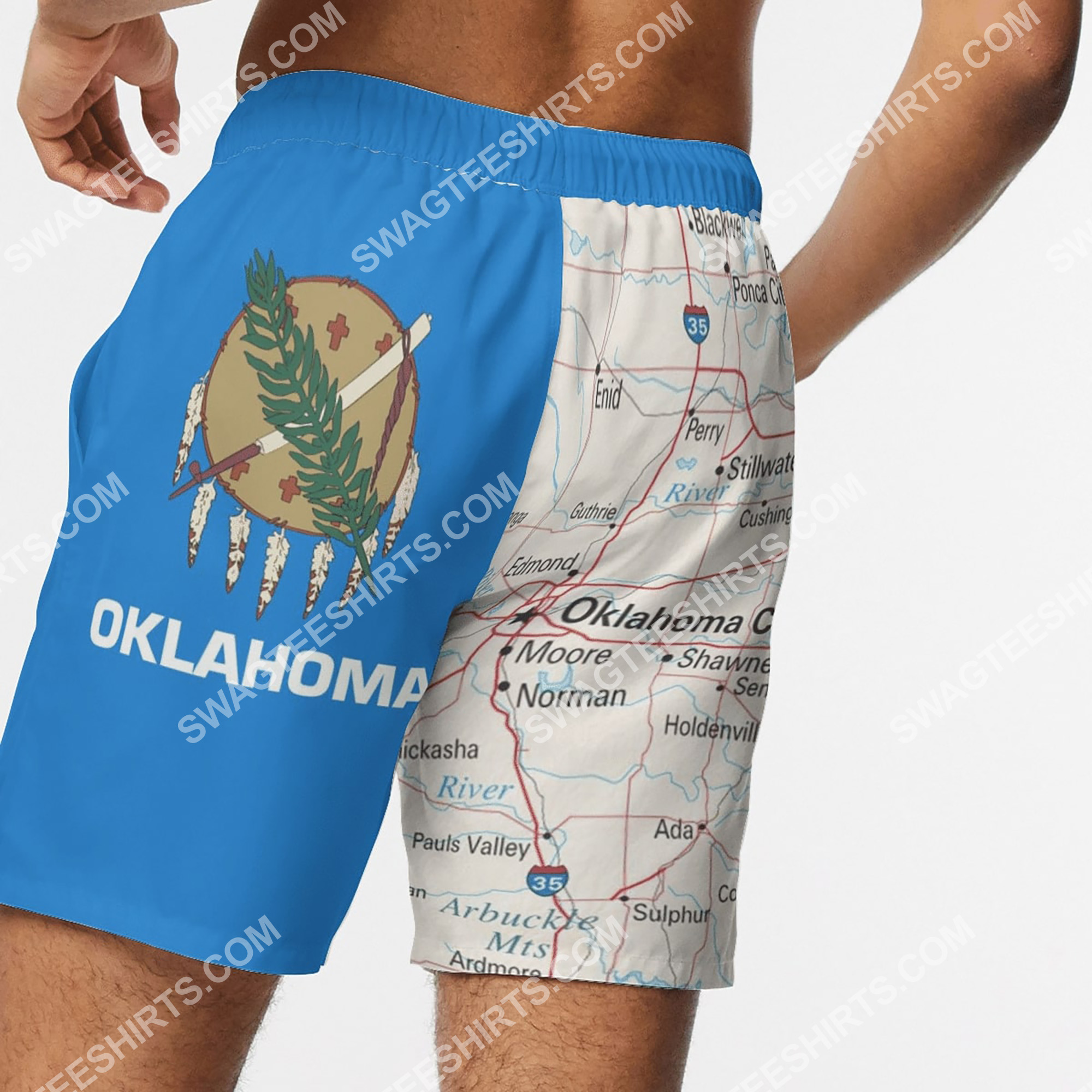 map of oklahoma all over printed beach shorts 5(1)