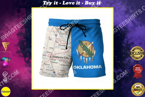 map of oklahoma all over printed beach shorts