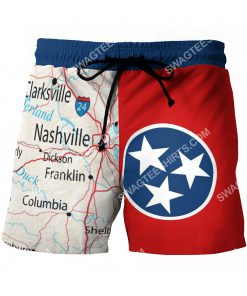 map of tennessee all over printed beach shorts 2(1)