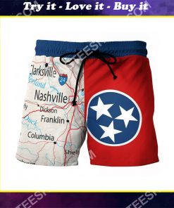 map of tennessee all over printed beach shorts