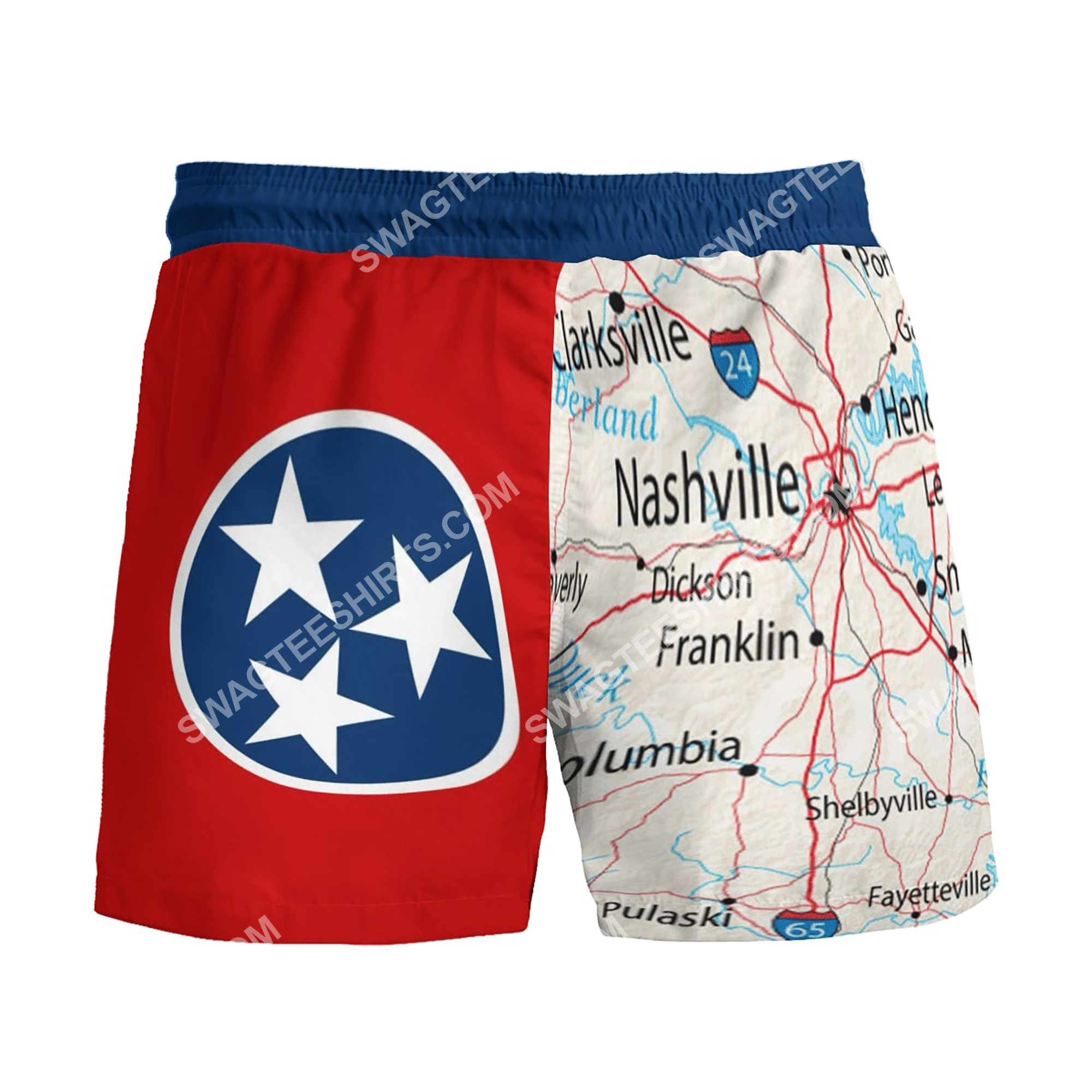 map of tennessee all over printed beach shorts 3(1)