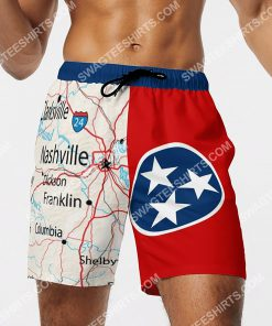 map of tennessee all over printed beach shorts 4(1)