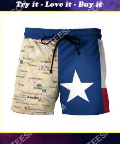 map of texas all over printed beach shorts