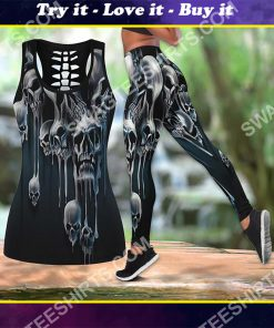 melting skull all over printed tank top and legging