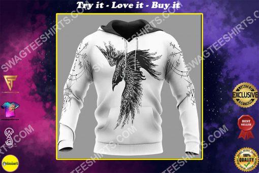 raven viking symbols all over printed shirt