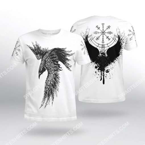 raven viking symbols all over printed tshirt 1