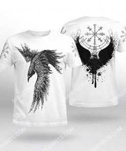 raven viking symbols all over printed tshirt 2