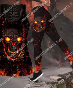 skull and fire all over printed legging(1) - Copy