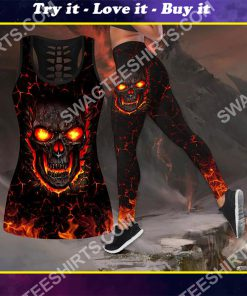 skull and fire all over printed tank top and legging