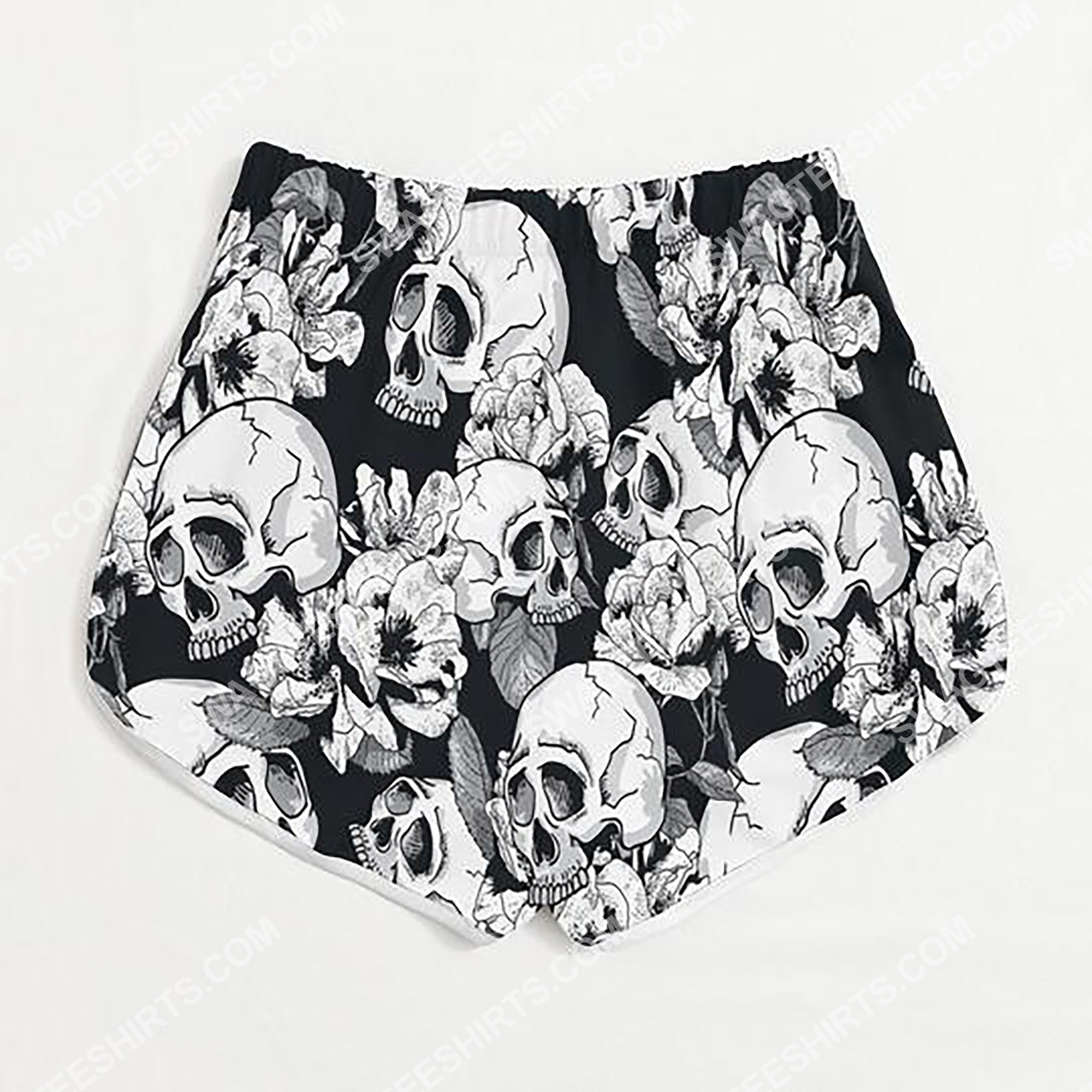 skull and flower all over printed women's board shorts 3(1)
