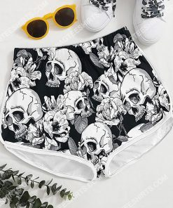 skull and flower all over printed women's board shorts 4(1)