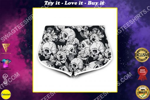 skull and flower all over printed women's board shorts