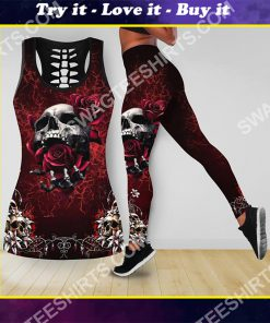 skull and roses all over printed tank top and legging