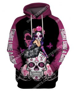 skull fairy figurine breast cancer awareness all over printed hoodie 1