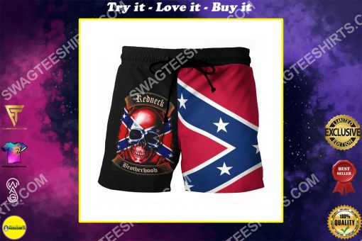 skull flags of the confederate states of america beach shorts