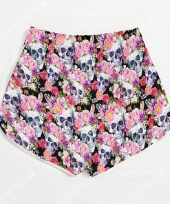 skull with flowers all over printed women's board shorts 3(1)