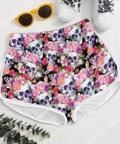 skull with flowers all over printed women's board shorts 4(1)