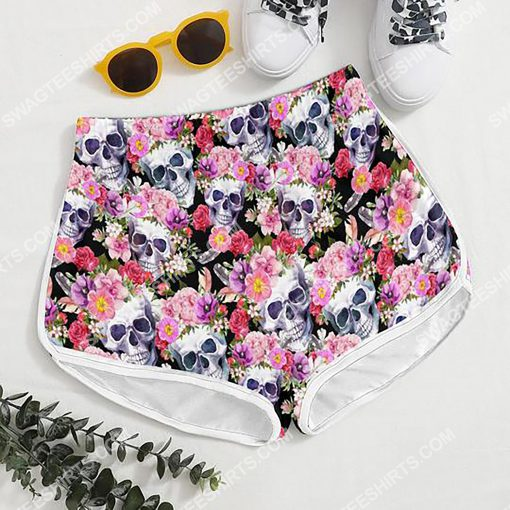 skull with flowers all over printed women's board shorts 4(1) - Copy