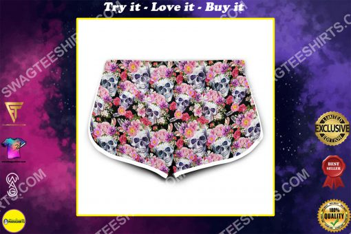 skull with flowers all over printed women's board shorts