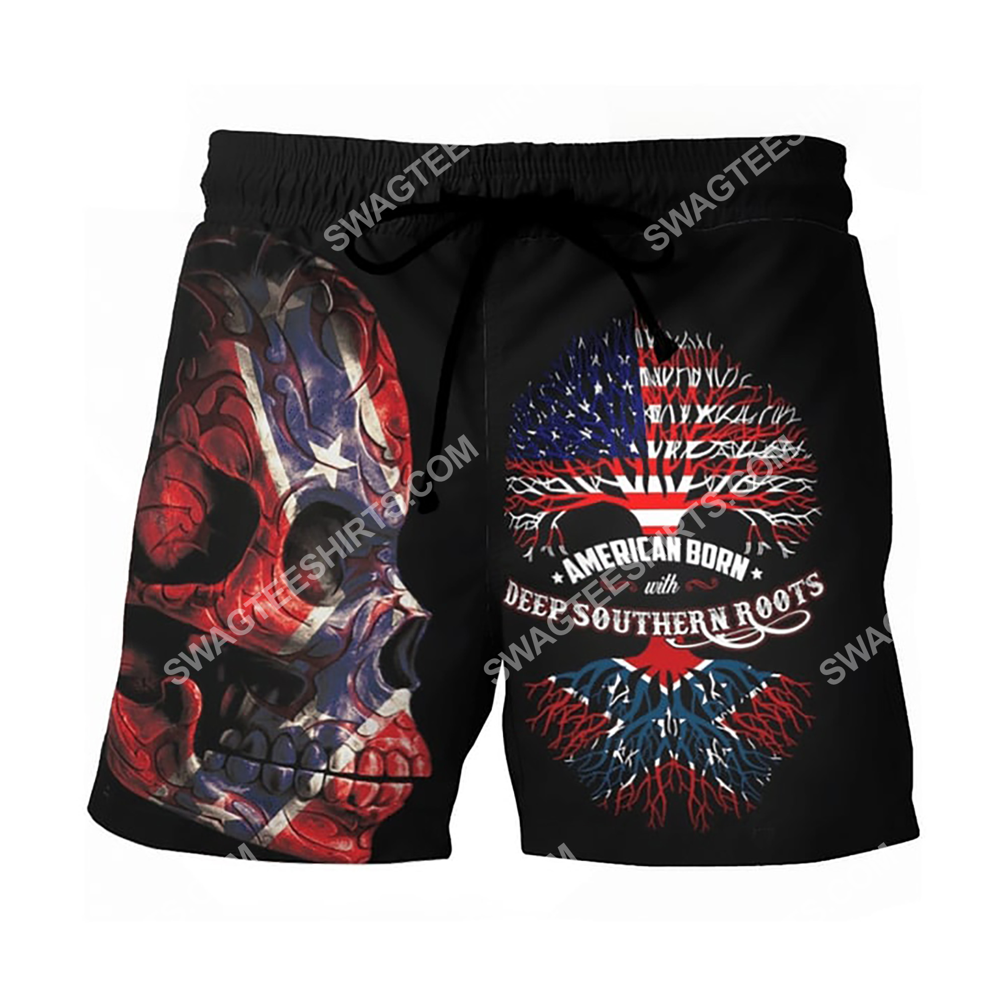 sugar skull american born with deep southern roots beach shorts 2(1)