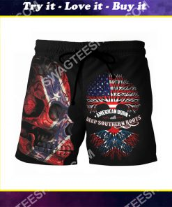 sugar skull american born with deep southern roots beach shorts