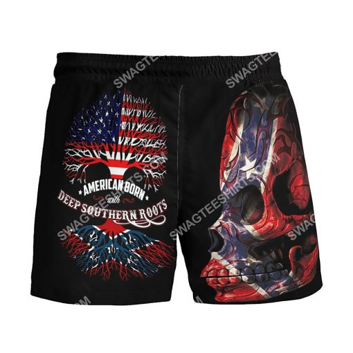 sugar skull american born with deep southern roots beach shorts 3(1)