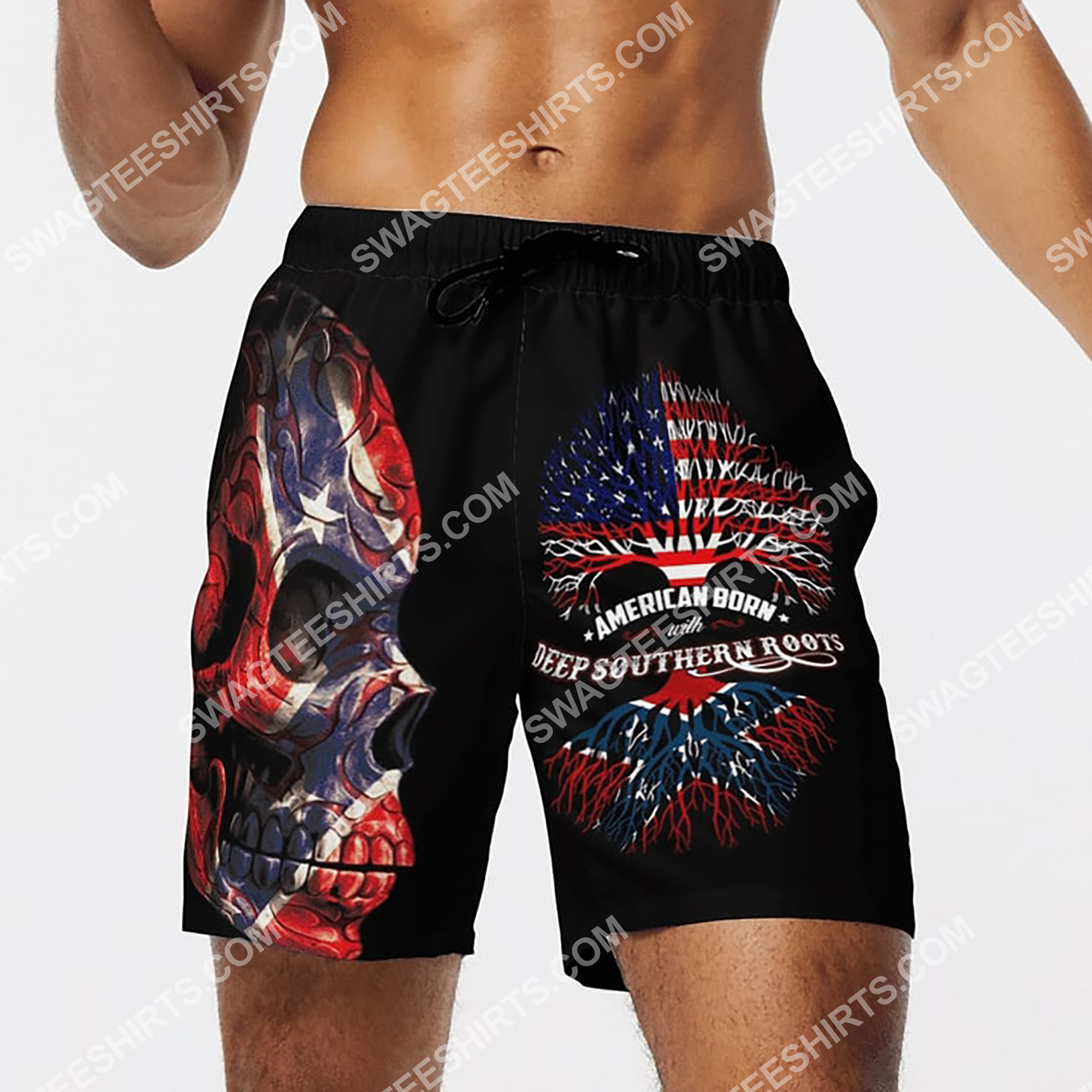 sugar skull american born with deep southern roots beach shorts 4(1)