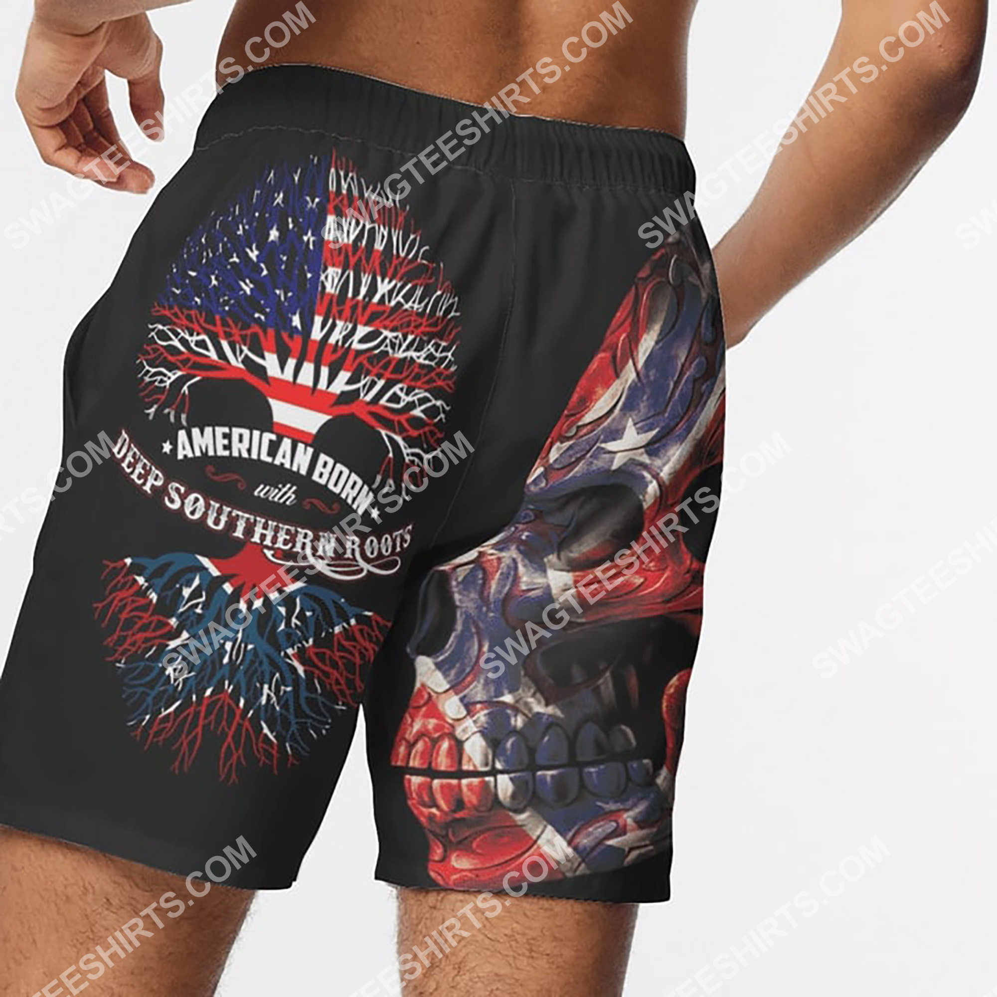 sugar skull american born with deep southern roots beach shorts 5(1)