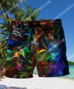 sugar skull colorful all over printed hawaiian shorts 2(3) - Copy
