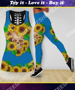 sunflower and skull all over printed tank top and legging