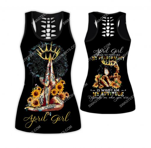 sunflower april girl make no mistake my personality is who i am all over printed hollow tank top 1