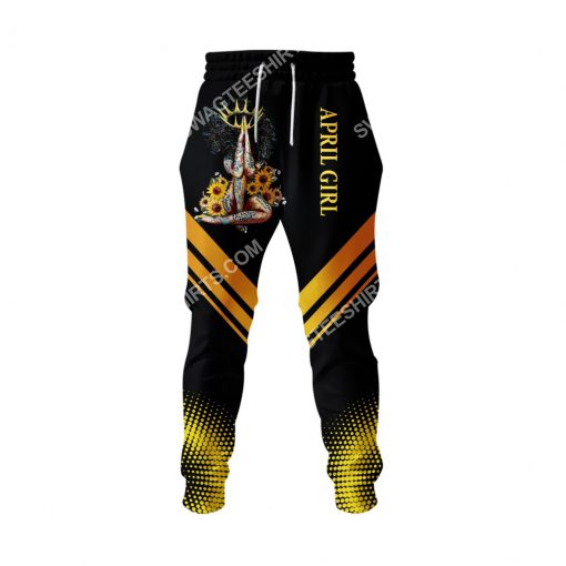 sunflower april girl make no mistake my personality is who i am all over printed long-pants 1
