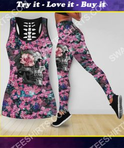 the flower and skull all over printed tank top and legging