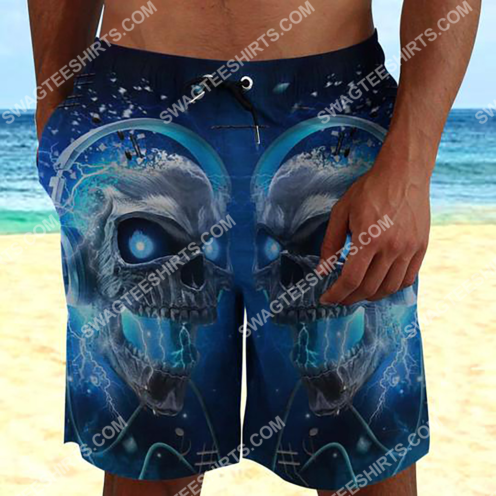 the skull with blue eyes all over printed beach shorts 2(1) - Copy