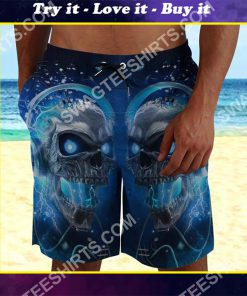 the skull with blue eyes all over printed beach shorts
