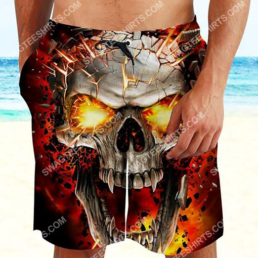 the skull with red eyes all over printed beach shorts 2(1)