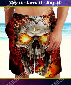 the skull with red eyes all over printed beach shorts