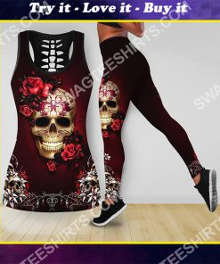 the sugar skull and roses all over printed tank top and legging