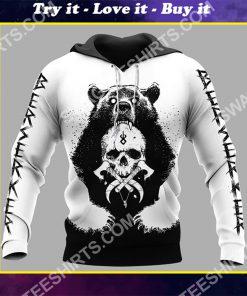 viking bear and skull all over printed shirt