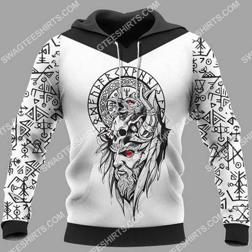 viking culture odin and raven all over printed hoodie 1