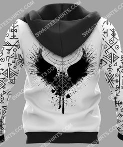 viking culture odin and raven all over printed hoodie - back 1
