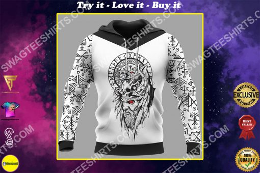 viking culture odin and raven all over printed shirt