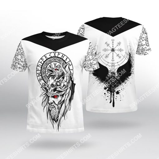 viking culture odin and raven all over printed tshirt 1