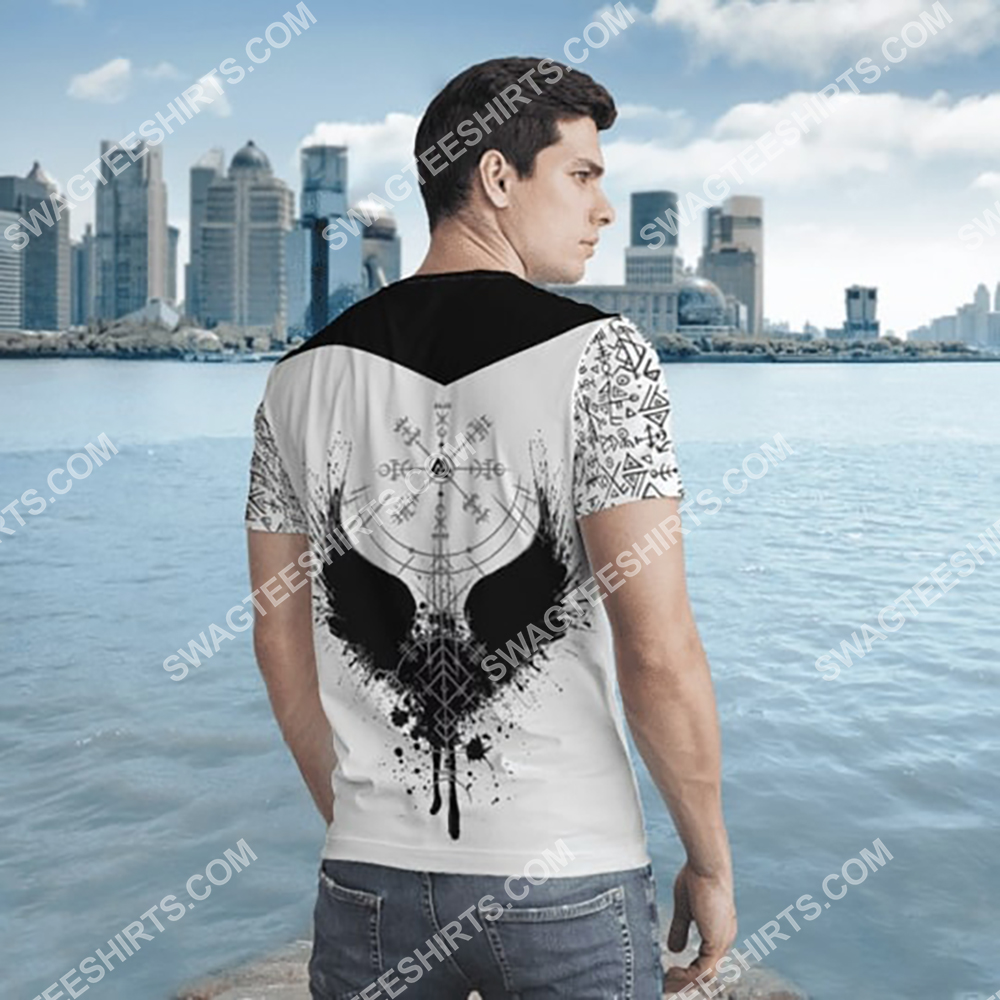 viking culture odin and raven all over printed tshirt - back 1