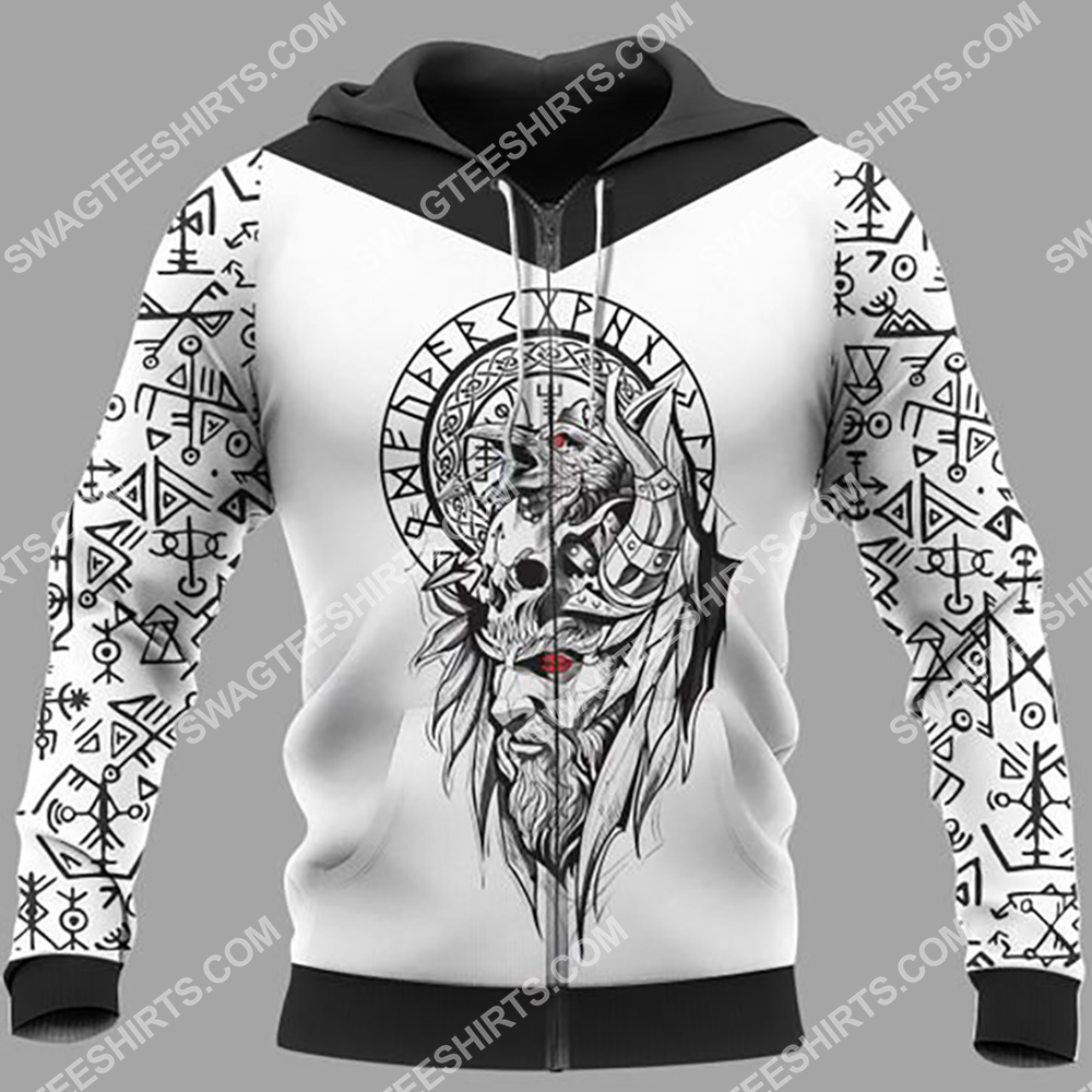 viking culture odin and raven all over printed zip hoodie 1
