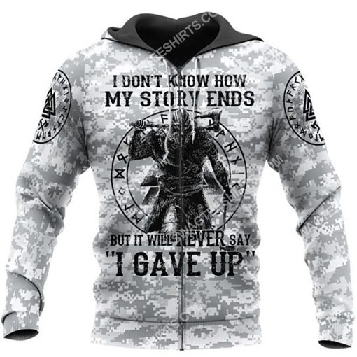 viking i don't know how my story ends but it will never say i gave up all over printed zip hoodie 1