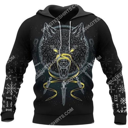 viking odin and wolf all over printed hoodie 1
