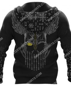 viking odin and wolf all over printed hoodie - back 1