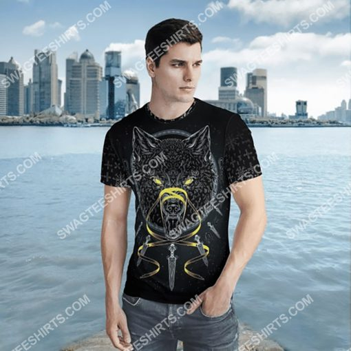 viking odin and wolf all over printed shirt 2(1)
